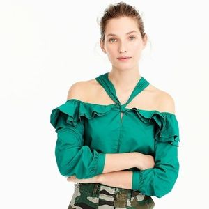 JCrew NWT Green Off The Shoulder Strappy Blouse